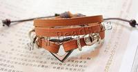 Free shipping!!!Cowhide Bracelet,Korea Jewelry, Zinc Alloy, with Wax Cord & Cowhide, Heart, handmade, adjustable & 3-strand