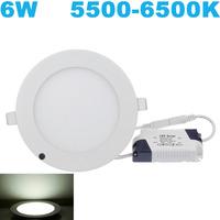 Fedex Free! Ultra thin design 6W 5500-6500K  AC85~265V led ceiling recessed downlight / round panel light 50pc/lot