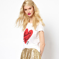 Lucky heart print tshirt short-sleeve o-neck white t-shirt female haoduoyi