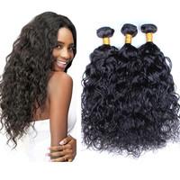 Rosa hair products Free shipping brazilian virgin hair wet and wavy 3pcs lot natural black 5A brazilian water wave hair weaves