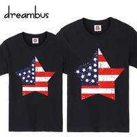Couple Tops 2014 Summer American flag star pattern personality short-sleeve t-shirt lovers women t shirt shirts