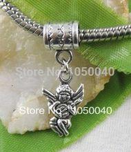 80pcs Tibetan Silver Cupid Angel Dangle Beads European Charms Bracelet Jewelry DIY Jewelry Findings 29×10.5mm