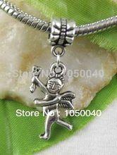 80pcs Tibetan Silver Cupid Eros Dangle Beads European Charms Bracelet Jewelry DIY Jewelry Findings 34×12.5mm