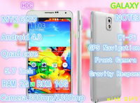 "HDC Note3 2GB RAM 16GB ROM Note 3 NoteIII Phone Android 4.3 MTK6589 Quad core Smart mobile phone 5.7"" 1280*720 IPS 13MP Camera"