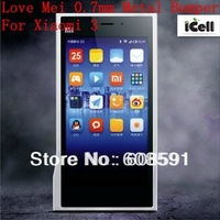 Love mei Ultra-thin 0.7mm Slim aluminum Bumper Metal Frame For Xiaomi 3 ,+retail package Free shipping MOQ:1pcs