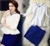 Freeshipping 2014 Spring 2pcs/set Top Quality Fashion white shirt heavy blue drill collar chiffon coat +blue wrapped skirt