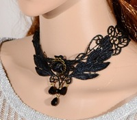 Sexy Angle Wings Black Lace Choker Necklace Vintage Gothic Necklace cxt3139