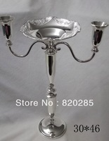 2014 new arrival shinny silver plated candelabra with flower bowl in the middle center for weddings