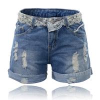 2014 Women Summer Destroyed Shortes Feminino Casual Female Shots Denim Shorts For Lace Jeans Verao Ladies Short Skort S334