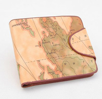 Promotional New Arrival Unique Design PU Male Purse Short Design Men Leather Map Printing Wallet