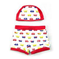 Cute cartoon baby boy baby car hooded swimming trunks swimsuit Spa