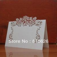 100pcs/Lot free shipping white Rattan Flower Laser cut Wedding Desk Card cup card place cards escort card wedding decoration
