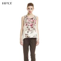 Hply women's vintage romantic print sleeveless shirt