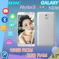 GALAXY New note 3 Mobile phone 5.7inch android 3G Smart Phone WIFI 2G RAM 16G ROM phone Quad Core  with gift