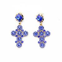 Min order $15 (Can Mix Item)  Fashion punk blue created gemstone diamonds crystal cross drop earring