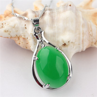 Free shipping New Fashion Women/Girl's 18k White Gold Filled Ellipse Green Emerald Pendant Chain Wedding Necklace Gift Jewelry