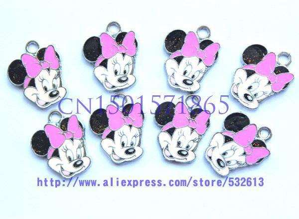 Grátis frete Hot 100 pcs rosa dos desenhos animados Minnie encantos rato Metal brincos pingentes jóias DIY fazer artesanato(China (Mainland))