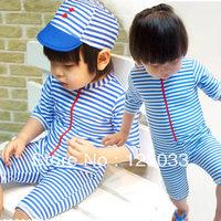 2014 Korean version of the new children's swimwear swim dress infant boy baby Siamese Navy sailor surf clothing
