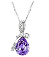 New silver Plated Austrian Crystal water drop Necklace&Pendants made with Swarovski Elements cheap jewelry FreeShipping 4pcs/lot