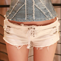 2014 New arrival Promotion Lady Denim Shorts S M L drawstring Womens fashion shorts 2 colors denim shorts jeans female