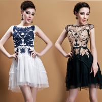 Spring New 2014 Maxi Chiffon Dresses Luxury Embroidery Sleeveless Slim Waist Dress Women Runway Design Summer Dress