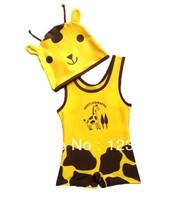2014 new special children's swimwear piece swimsuit baby boy giraffe cartoon swimsuit