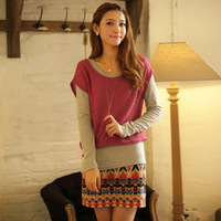 Women's national sweater trend patchwork fake long-sleeve one-piece dress high quality version