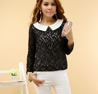 New 2014 Women Clothing All-match Lace Dress Shirt Lovely Bow Shirts Brand Tops Blouses
