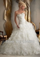 Free Shipping A Line Vintage 2014 Appliques Organza Bridal Wedding Dresses