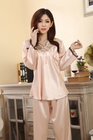 Free shipping High quality Ladies V-neck silk pajamas Spring and summer silk pajamas 2-pieces set good Tracksuit Factory Direct
