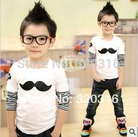 Cotton Korean foreign trade children's clothing brand T-shirt embroidered mustache  shirt bottoming shirt TZ18A44