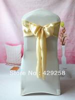 Wholesale 100pcs Champagne Satin Chair Sashes Bows Ribbon 15cmX275cm Wedding/HOT/Free shipping