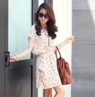 2014 New Fashion summer women's batwing sleeve plus size chiffon full dress flower printed short sleeve casual vintage dresses