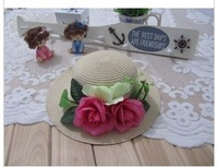 free shipping 2014 Spring New design Bohemia colorful flowers  high-grade large strawsun  hat,spring and summer beach cap
