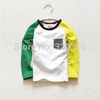 Free shipping,Spring children's long sleeve T shirt,Cotton children pocket money spell color T-shirt shirt bottoming TZ18A46