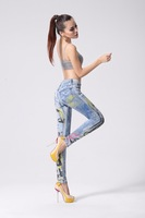 Retail(1Piece) Fashion 2014 High Quality 3D Painted  Sexy Girl Print  Woman's Pencil Jeans Size 26-31