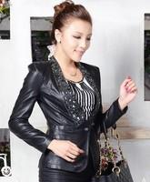 2014 spring short jacket leather women slim leather clothing motorcycle jacket autumn coat woman black OL jacket outerwear