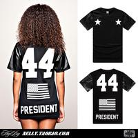 Black boy place problems 44 flag leather digital T-shirt short-sleeve round neck tee