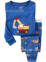 6size Wholesale 100%cotton kid Home Clothes Cartoon kid apparel baby girl Blue long sleeve Pajamas+pants Set