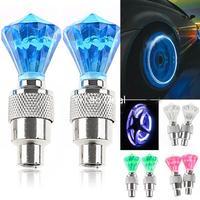 Free shipping 2 x Diamond Shaped Auto LED Valve Lamp Flashing Light Tyre Wheel Light for Car Bicycle Motorcycle