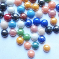 8mm glass flat back round pearl for ornament min 1000pcs multicolor