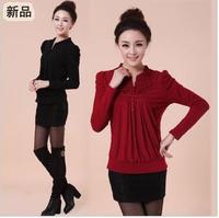 Spring t-shirt female shirt lace loose basic shirt plus size clothing plus size mother clothing