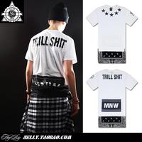 Trill shit been trill fashion men's t-shirt hiphop lengthen zipper men's short-sleeve T-shirt west hot flower cashew