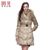 Evey gay 2013 raccoon fur long design slim waist down coat 4680