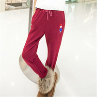 Autumn and winter autumn female warm pants legging fleece pants casual loose trousers thickening health pants