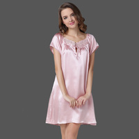 Mulberry silk sleepwear pure silk nightgown female sexy noble short-sleeve silk lounge
