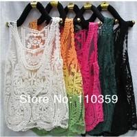 2014 summer gauze embroidery crochet vest lace shirt solid cape hollow out blouse for women size M L XL color blue yellow black