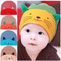 2014 newest design ! stripe kitty infant beanies Kids caps Cotton Beanie Infant cap children hats Boys & Girls Skull Cap