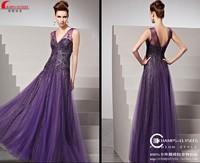 free shipping new fashion 2014 vestidos de festa casual dress long formal dress beaded purple bride evening elegant Dresses