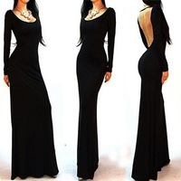 Free shipping Winter Women Sexy evening dress Minimalist Backless Open Cutout Back Slip Floor Long Maxi Dress